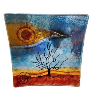 Handmade Fused Glass Art Curved Decor Tree Plate